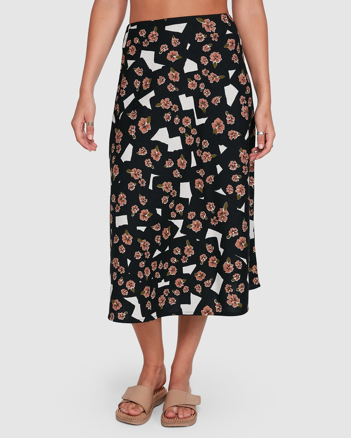 2 Floral Pop Midi Skirt Black R206834 RVCA