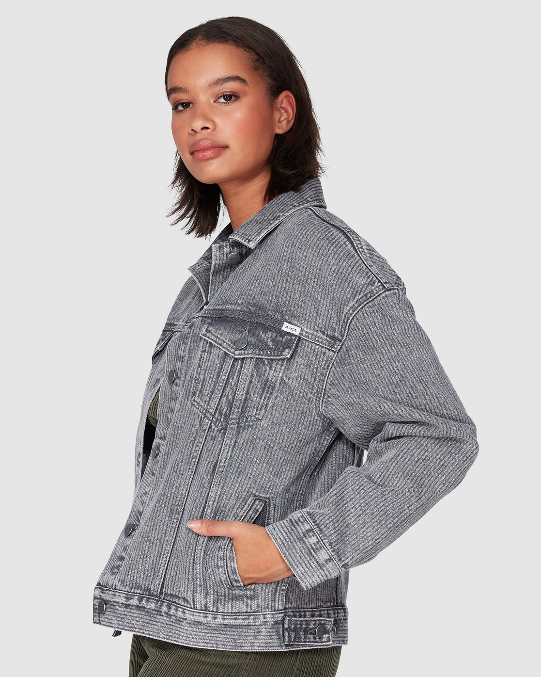 1 Slouch Dnm Jacket - Gry Stripe Grey R207440 RVCA
