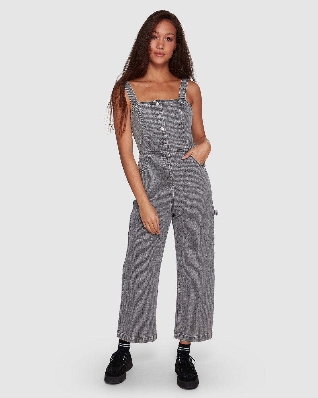 5 Overworked Stripe Overalls Grey R207751 RVCA
