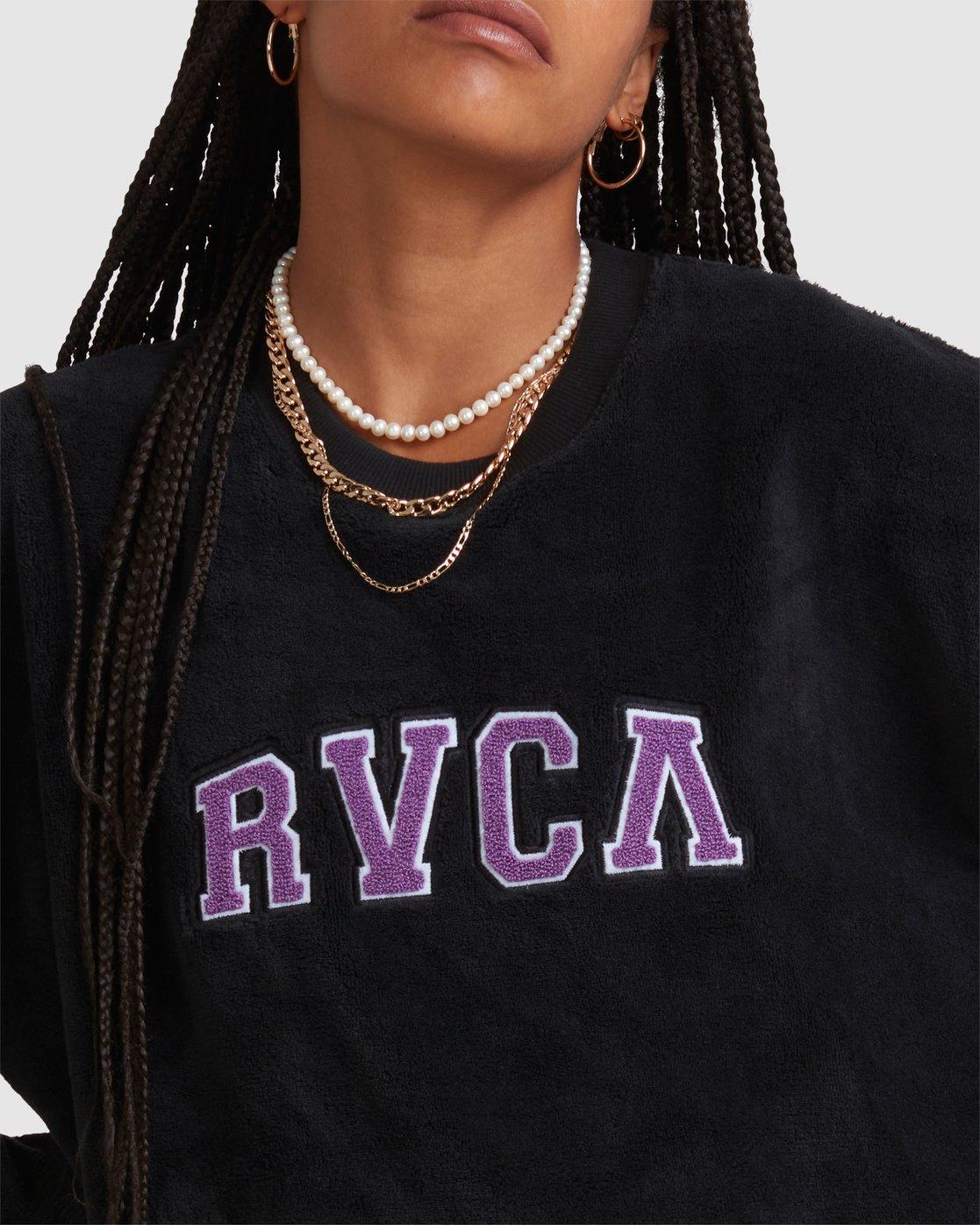 4 RVCA ARCH FUZZ CREW Black R218153 RVCA