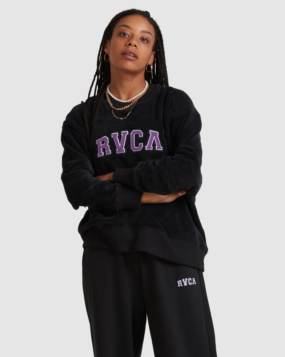 1 RVCA ARCH FUZZ CREW Black R218153 RVCA