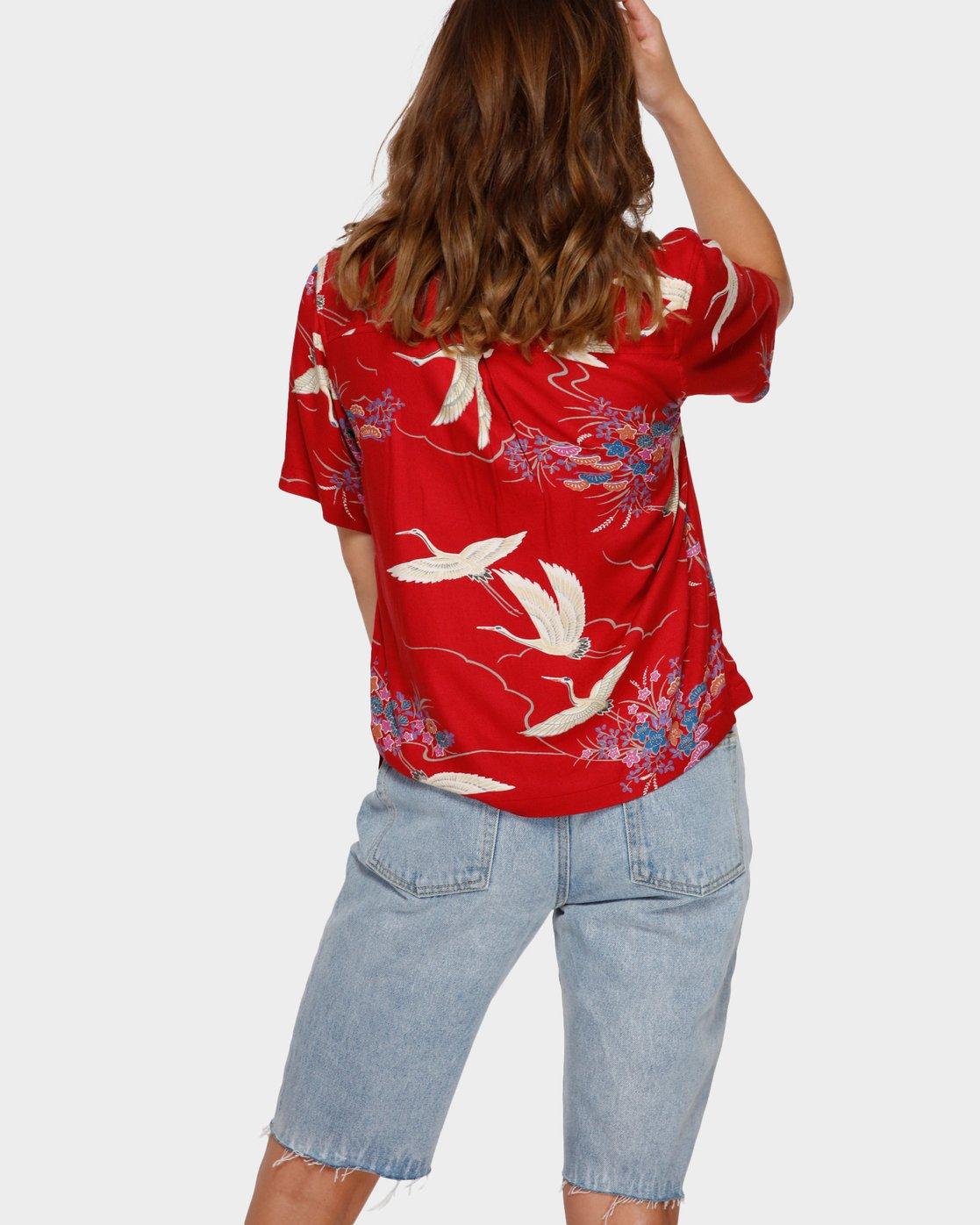 3 Cranes Shorts Sleeve Shirt Red R291182 RVCA