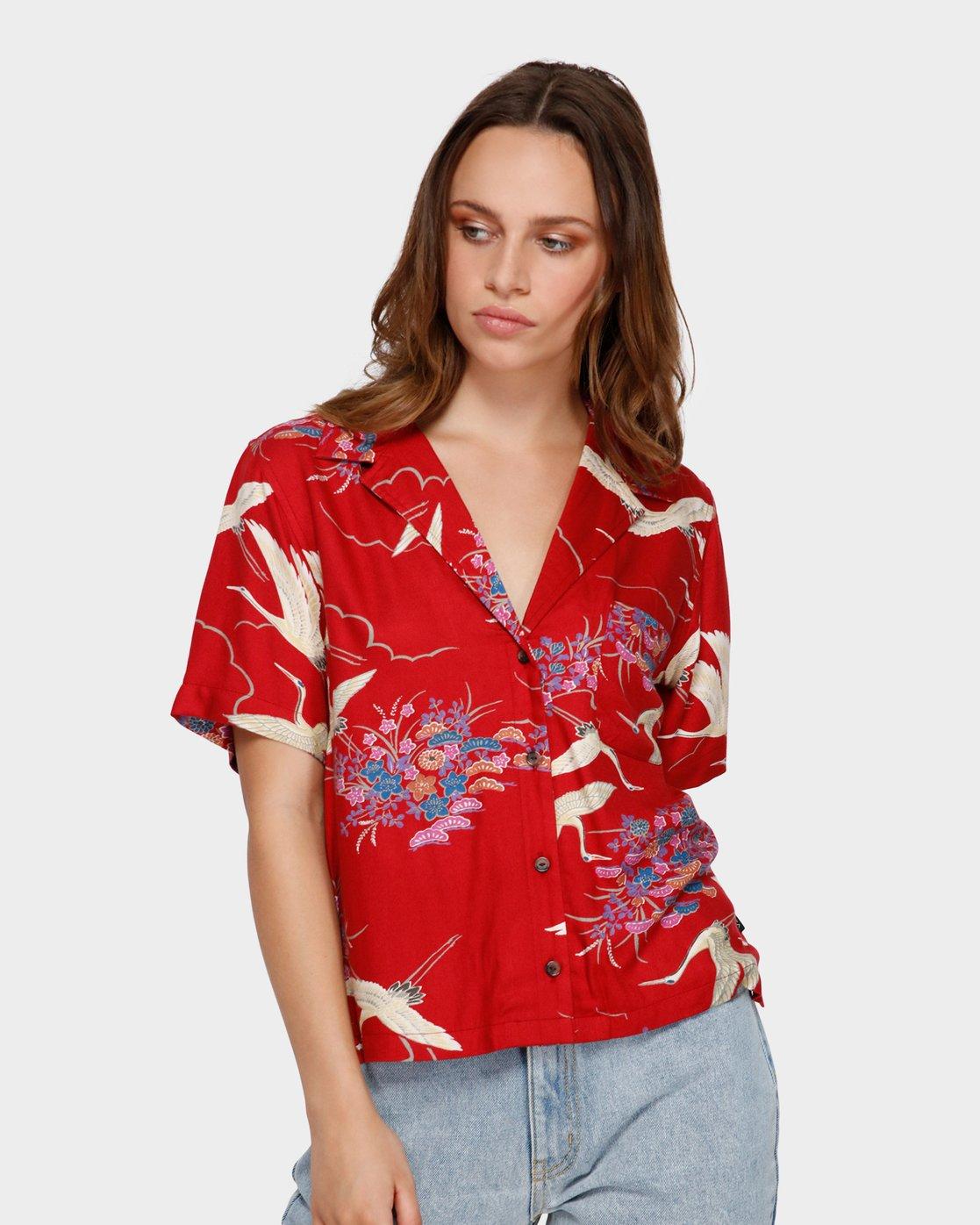 1 Cranes Shorts Sleeve Shirt Red R291182 RVCA