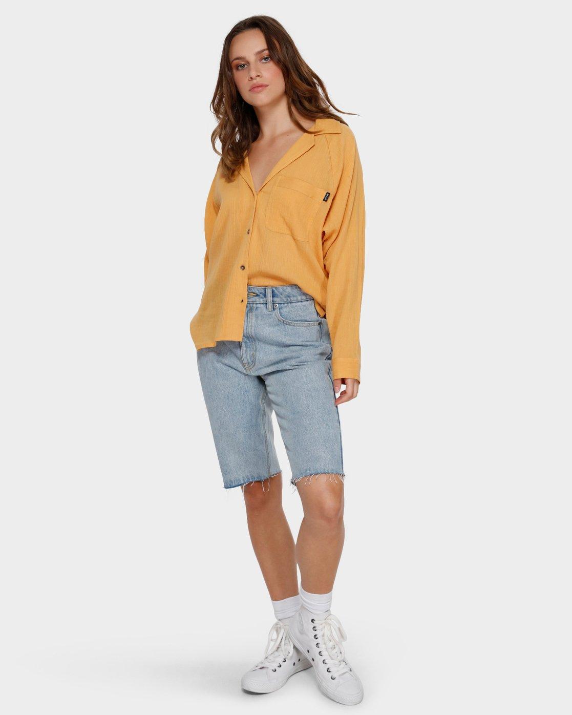 4 Air Weave Shirt Orange R291183 RVCA