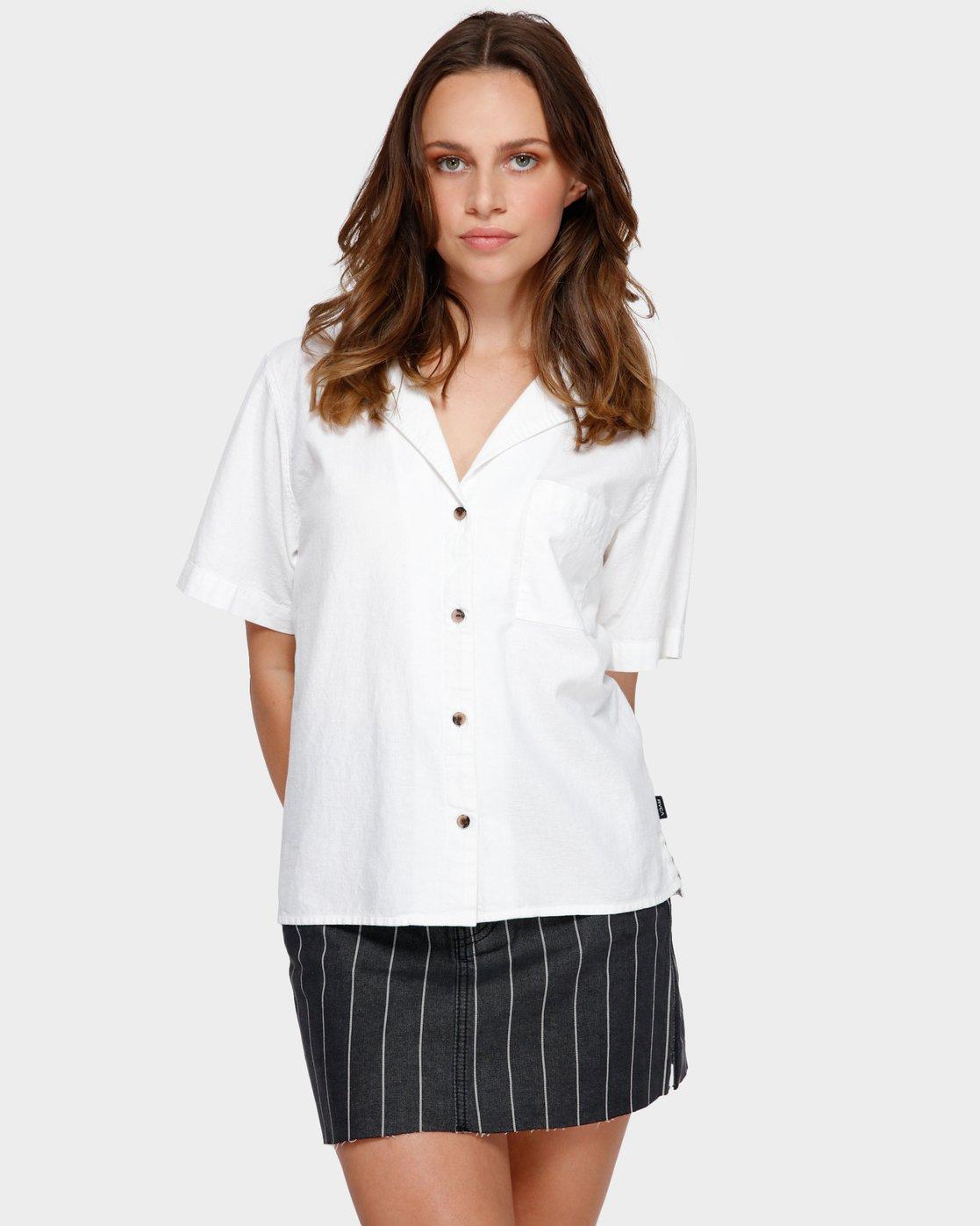 0 Shoutout Short Sleeve Shirt White R291184 RVCA