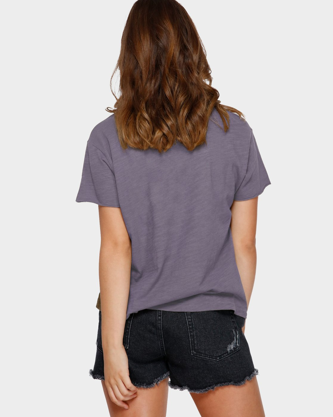 3 Focus Patch Short Sleeve T-Shirt Purple R291682 RVCA