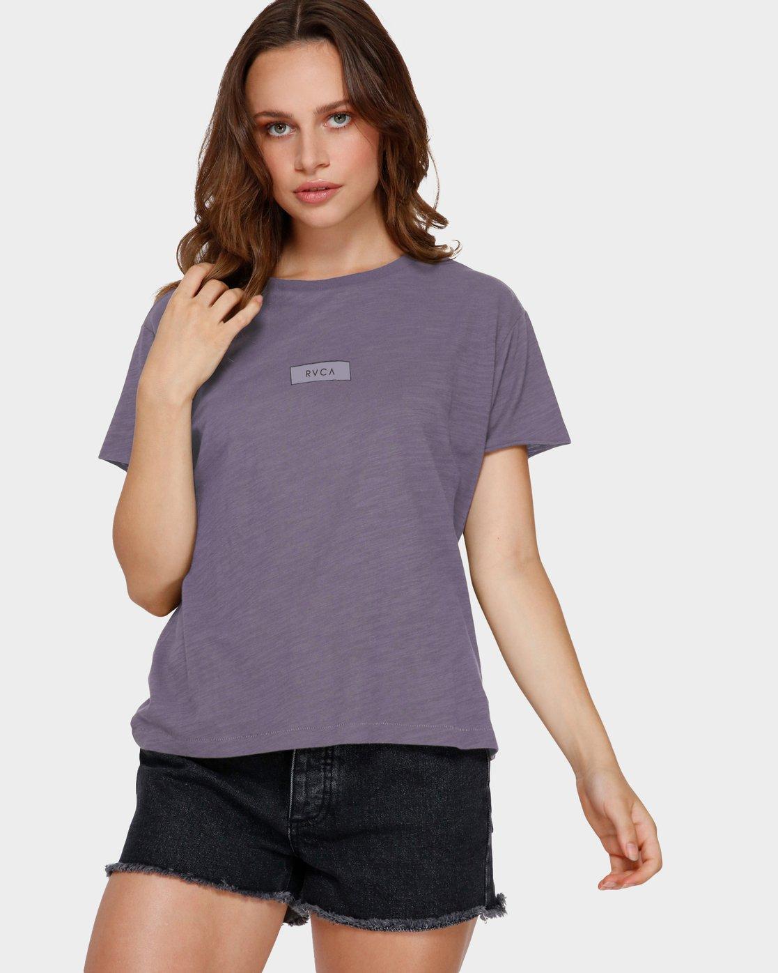 0 Focus Patch Short Sleeve T-Shirt Purple R291682 RVCA