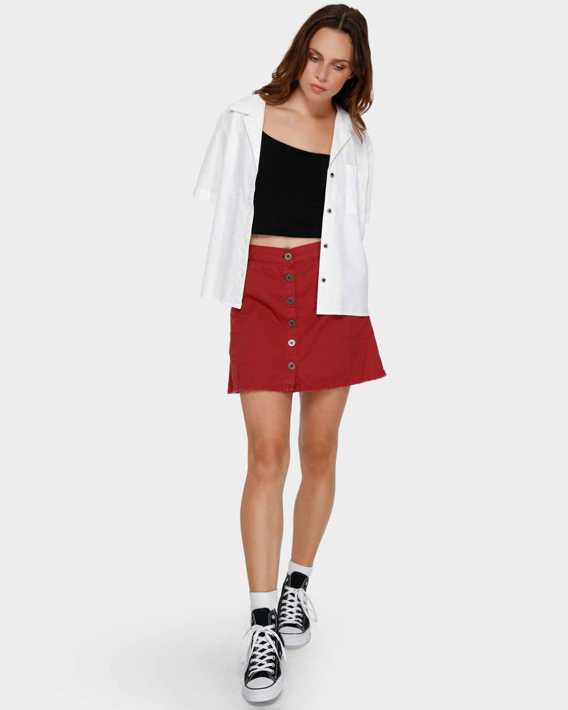 6 Shoutout Mini Skirt Brown R291833 RVCA
