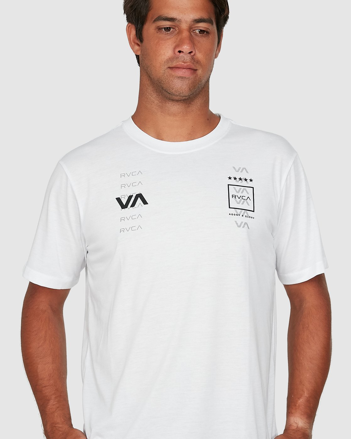 3 Double Down Short Sleeve Tee White R305043 RVCA