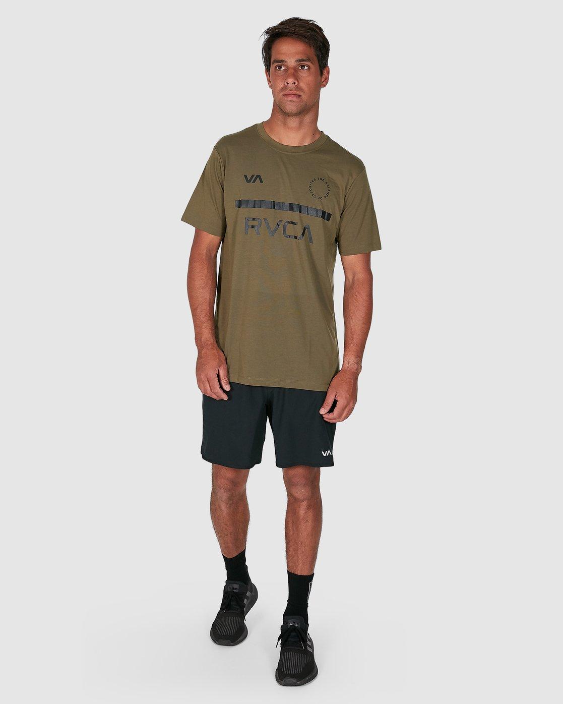 6 Mid Bar Short Sleeve Tee Green R305044 RVCA