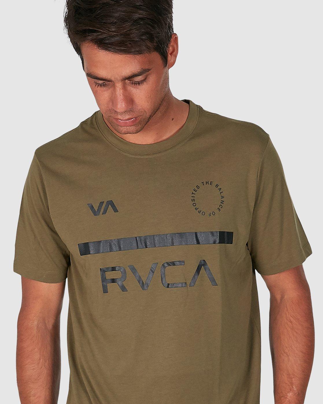 4 Mid Bar Short Sleeve Tee Green R305044 RVCA