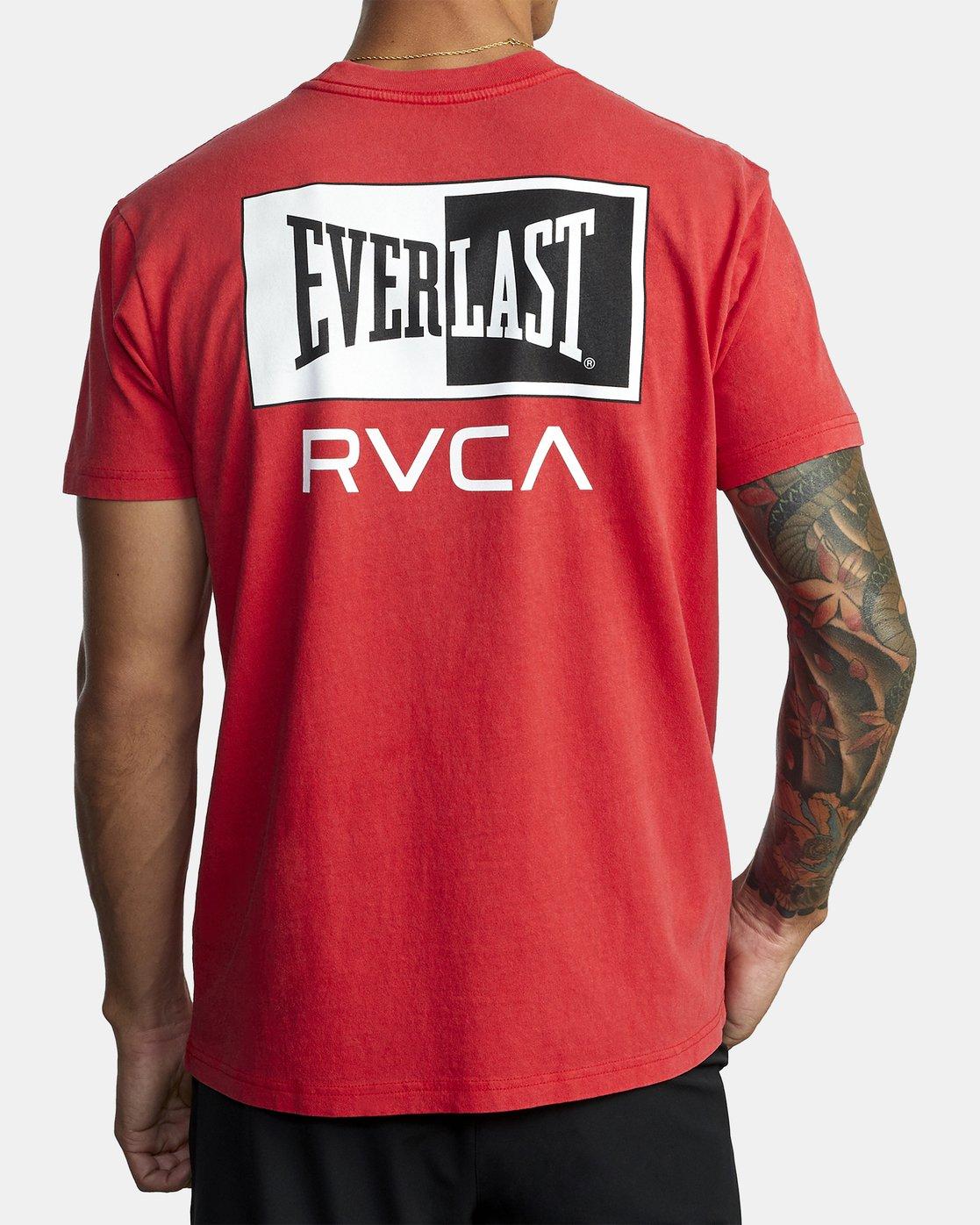 2 EVERLAST STACK SHORT SLEEVE TEE Red R305057 RVCA