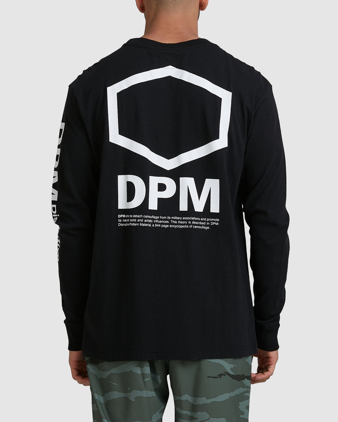3 DPM Long Sleeve T-Shirt Black R305096 RVCA