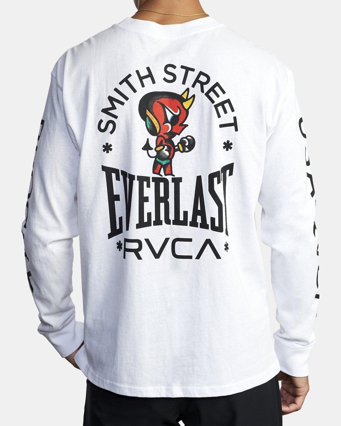 3 EVERLAST X SMITH STREET BIG DEVIL LONG SLEEVE TEE White R305100 RVCA