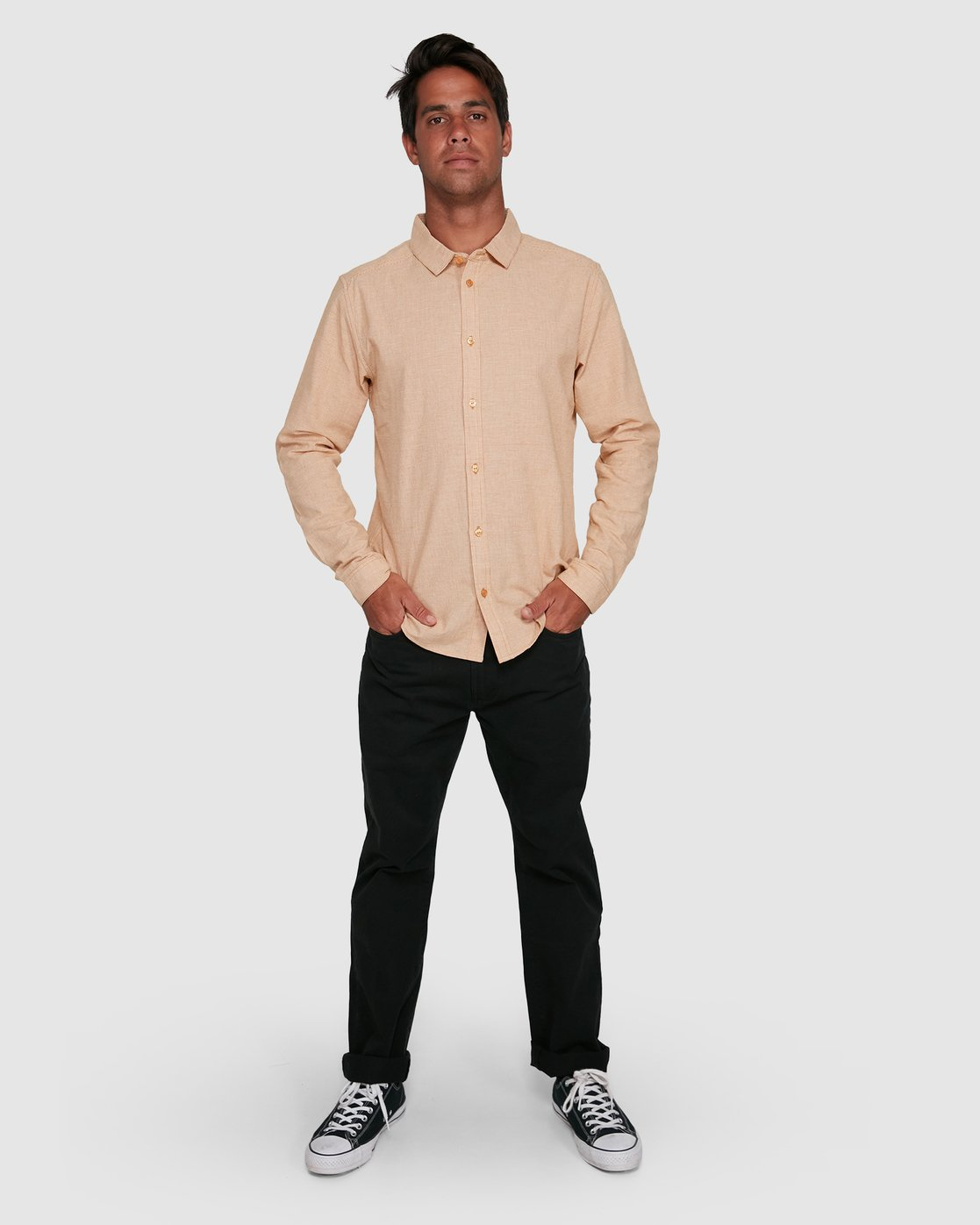 6 CRUSHED CHECK LONG SLEEVE TOP Beige R305195 RVCA