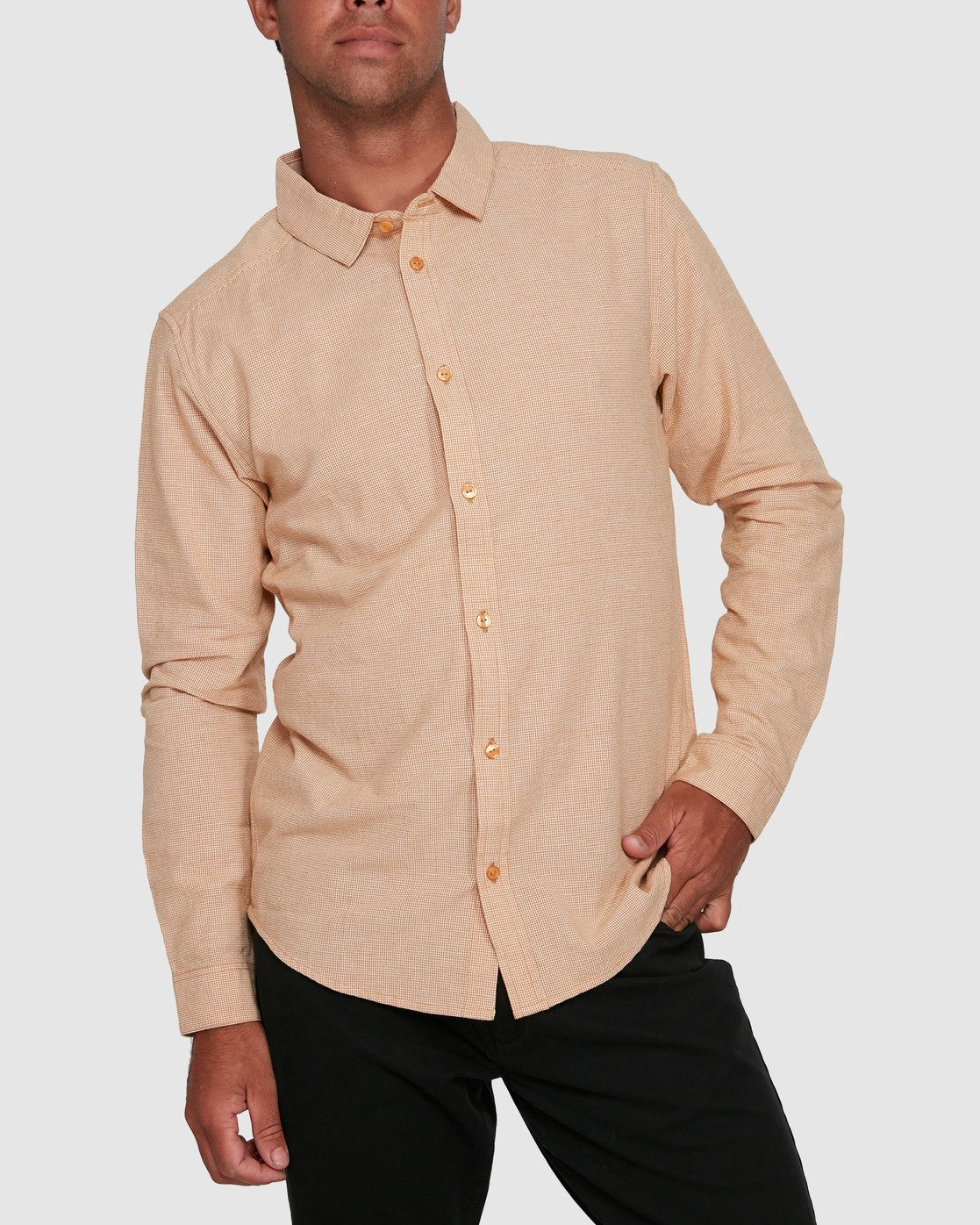 1 CRUSHED CHECK LONG SLEEVE TOP Beige R305195 RVCA