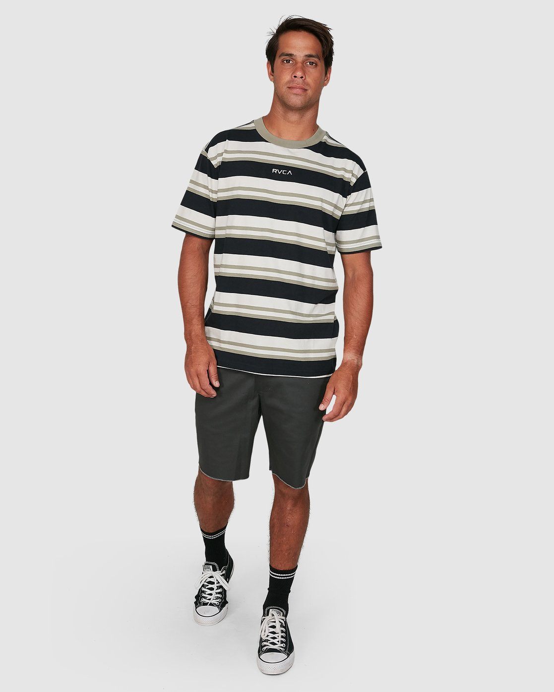 5 Curtis Stripe II Short Sleeve Tee Black R306042 RVCA