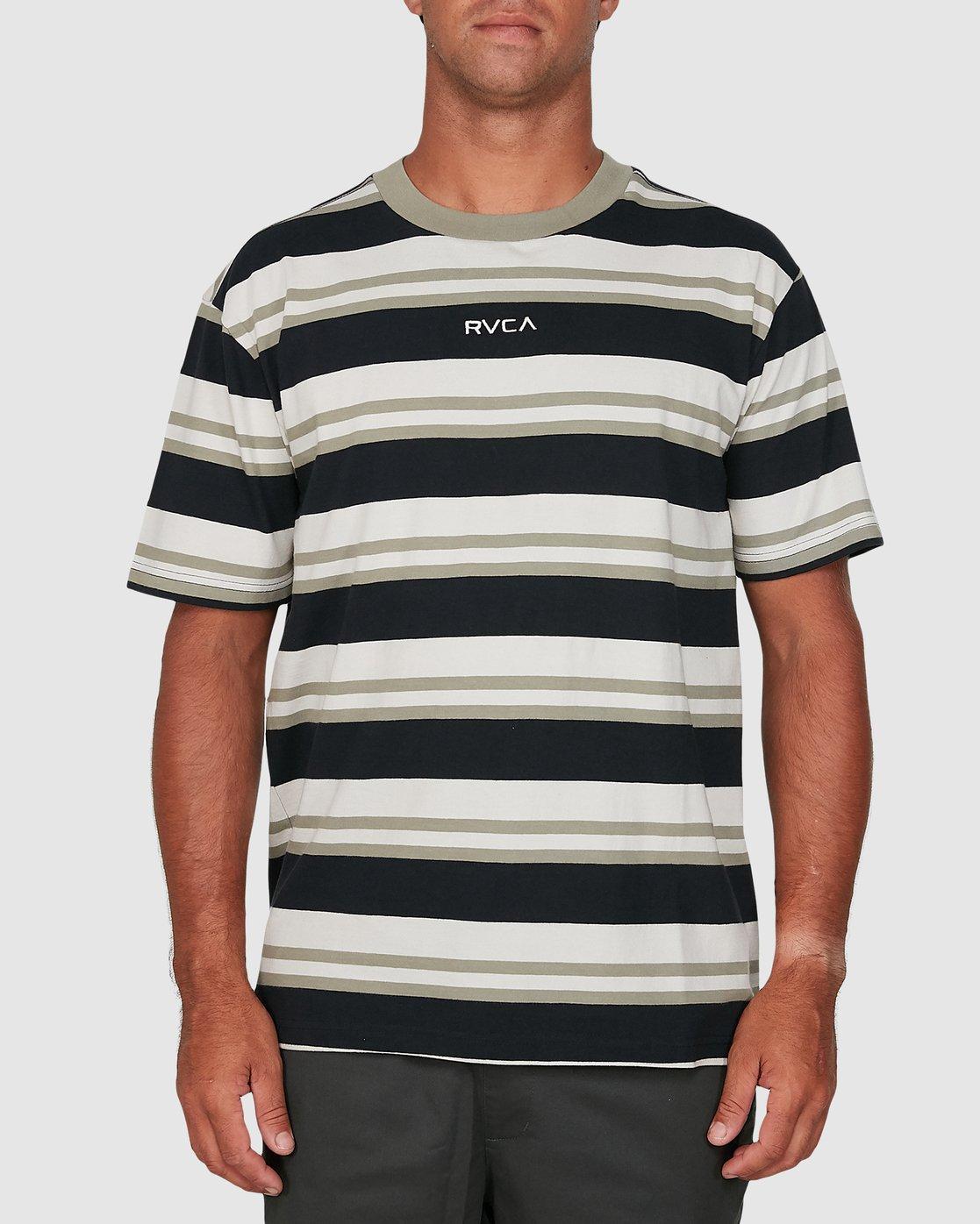 0 Curtis Stripe II Short Sleeve Tee Black R306042 RVCA
