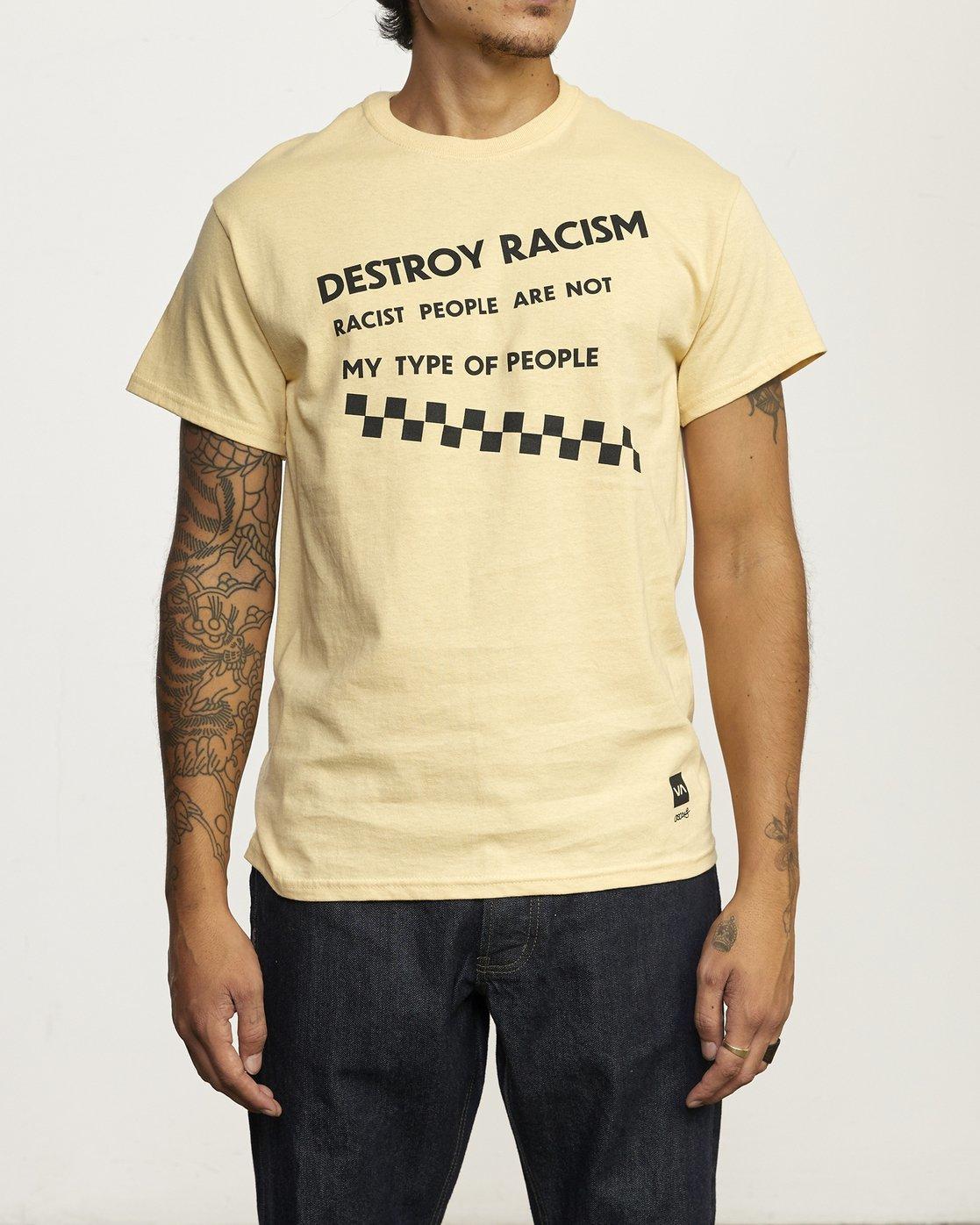 0 Destroy Racism T Shirt White R306061 RVCA