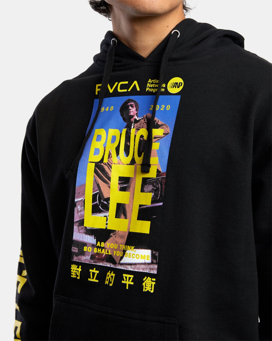 3 Bruce Lee As You Think Hoodie Black R306154 RVCA
