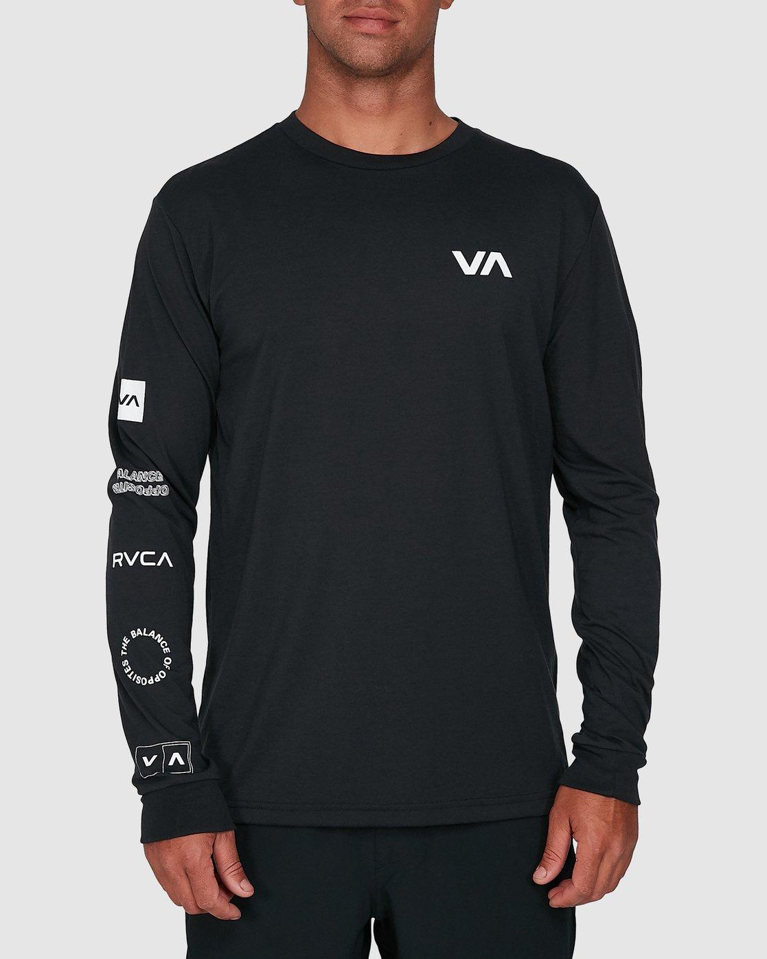 1 All Out Rvca Long Sleeve Tee Black R307046 RVCA