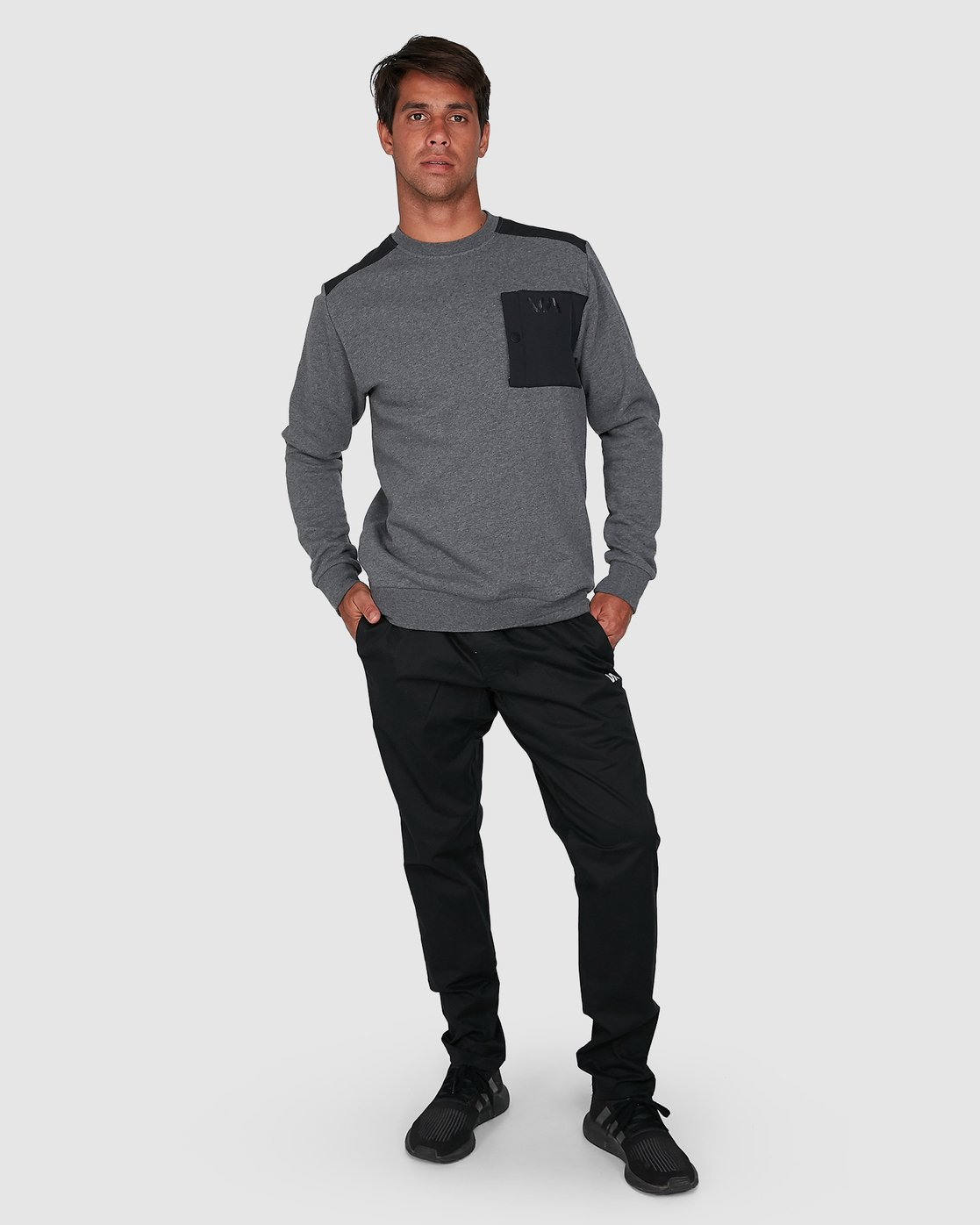 6 Hybrid Crew Fleece Grey R307153 RVCA