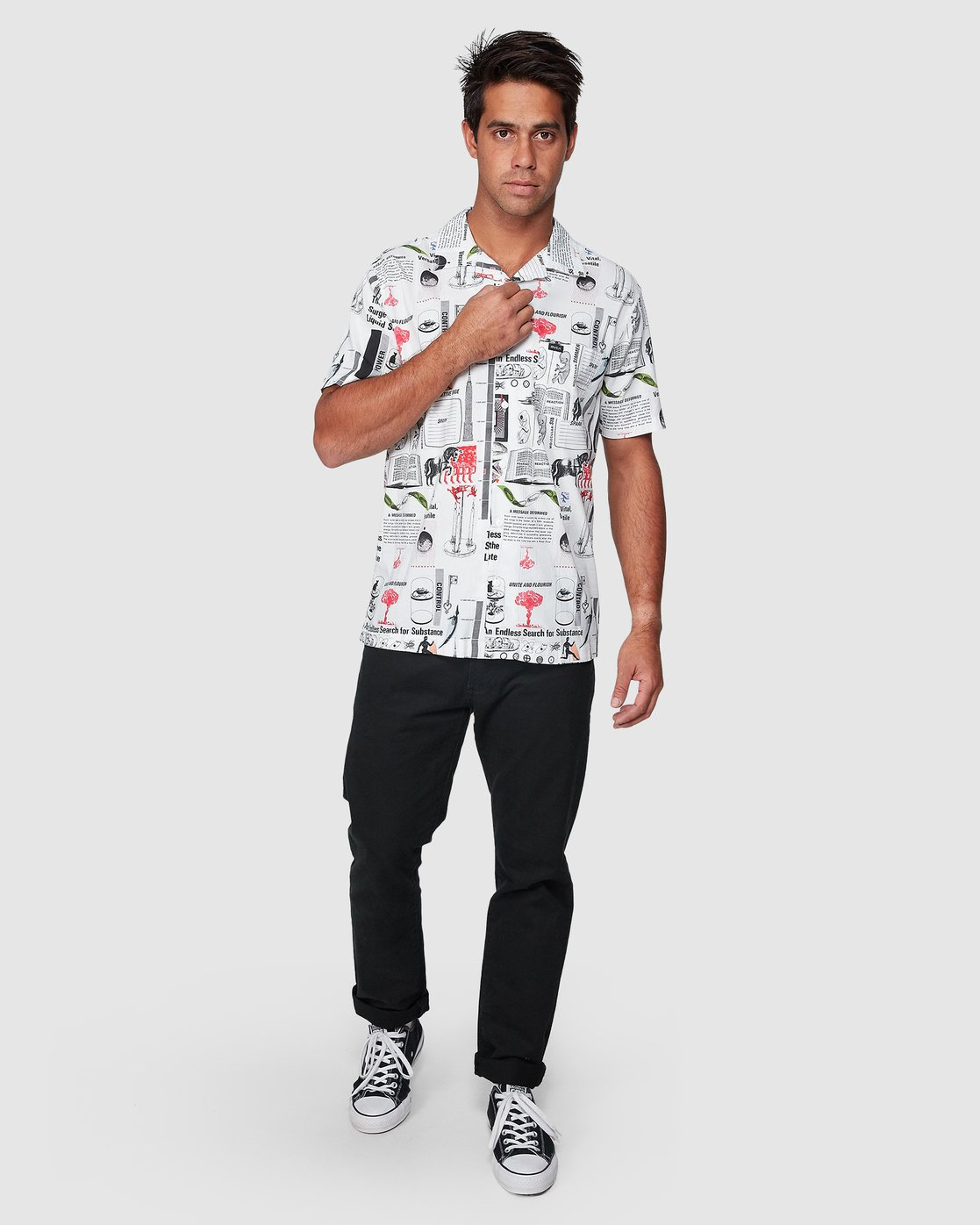 5 Spun Short Sleeve Shirt White R307188 RVCA