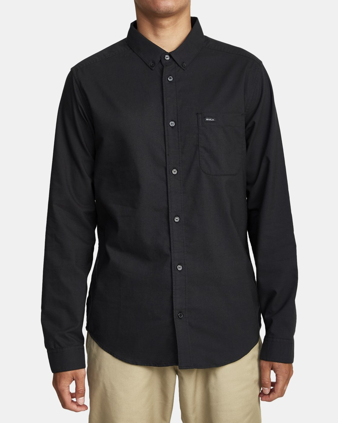 0 Thatll Do Stretch Long Sleeve Shirt Black R307194 RVCA