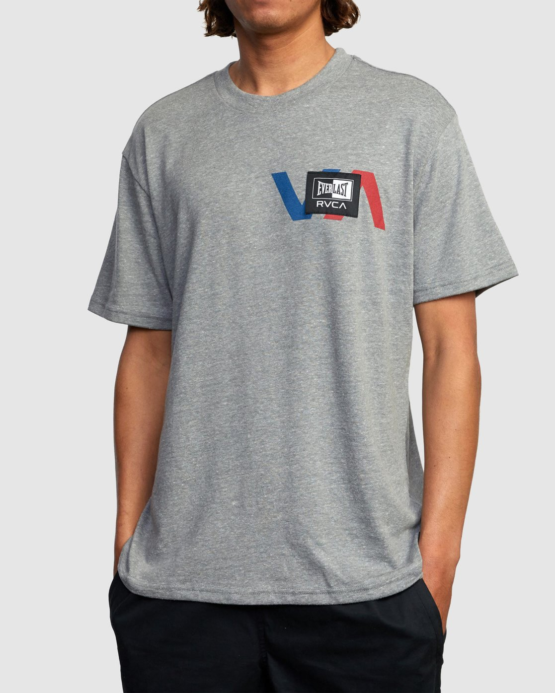 1 EVERLAST STACK PATCH SHORT SLEEVE TEE Grey R317080 RVCA
