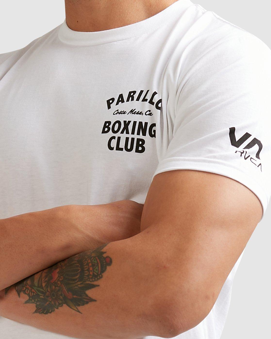3 PARILLO BOXING CLUB SHORT SLEEVE TEE White R317083 RVCA