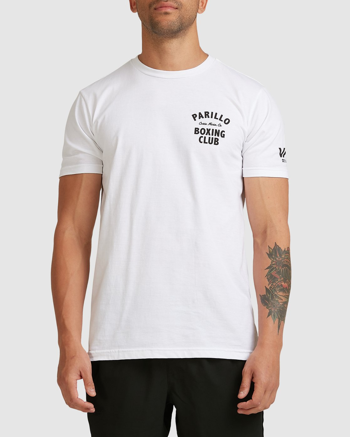 0 PARILLO BOXING CLUB SHORT SLEEVE TEE White R317083 RVCA