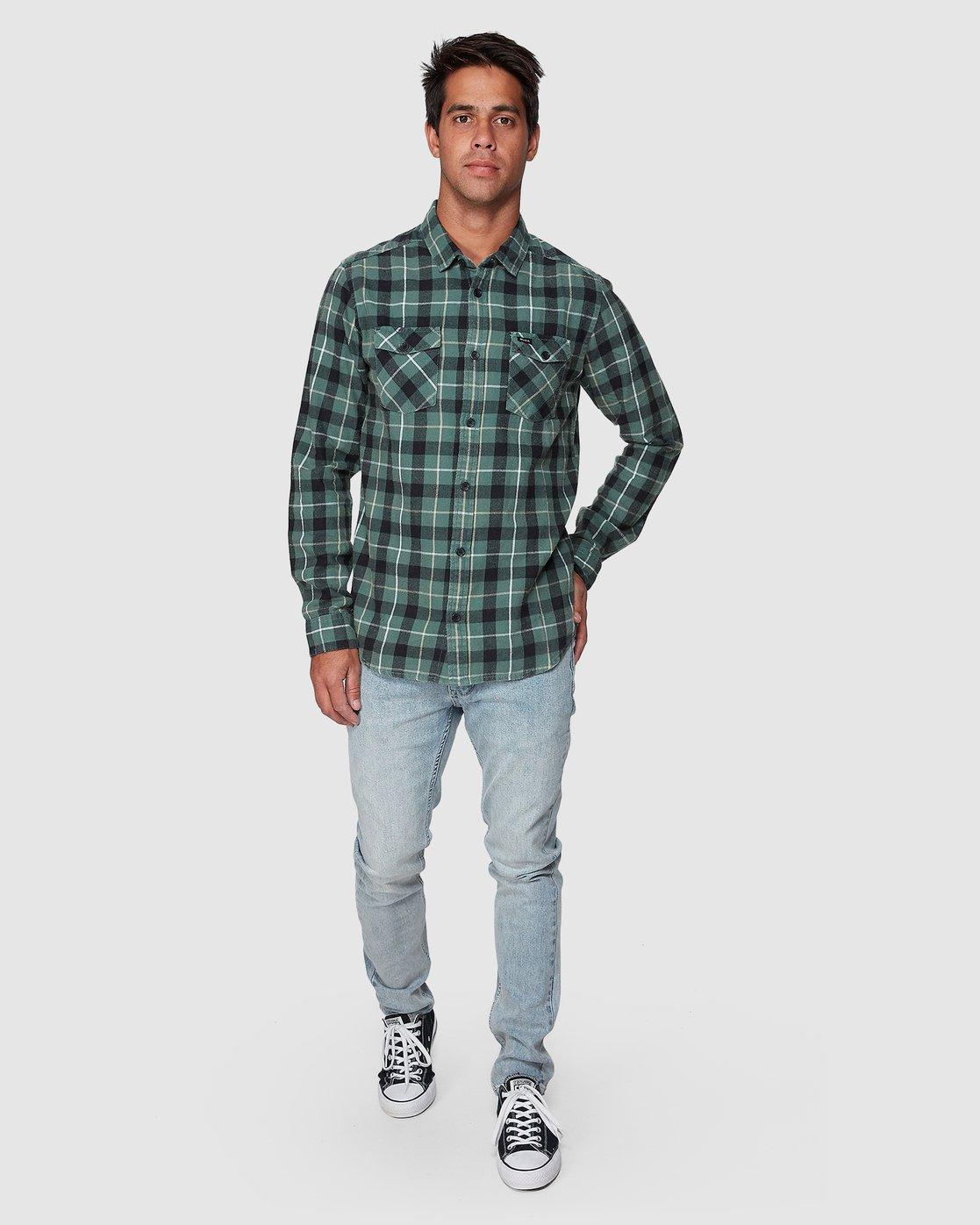 10 Treets Long Sleeve Shirt Green R372190 RVCA