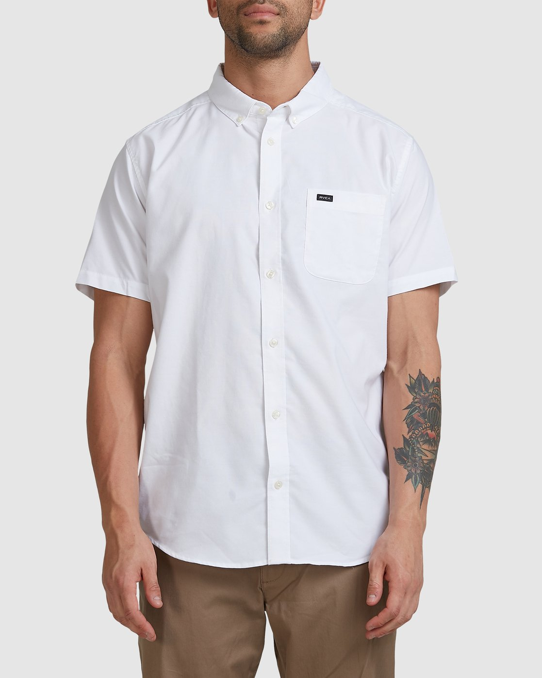 0 Thatll Do Stretch Short Sleeve Shirt White R382185 RVCA