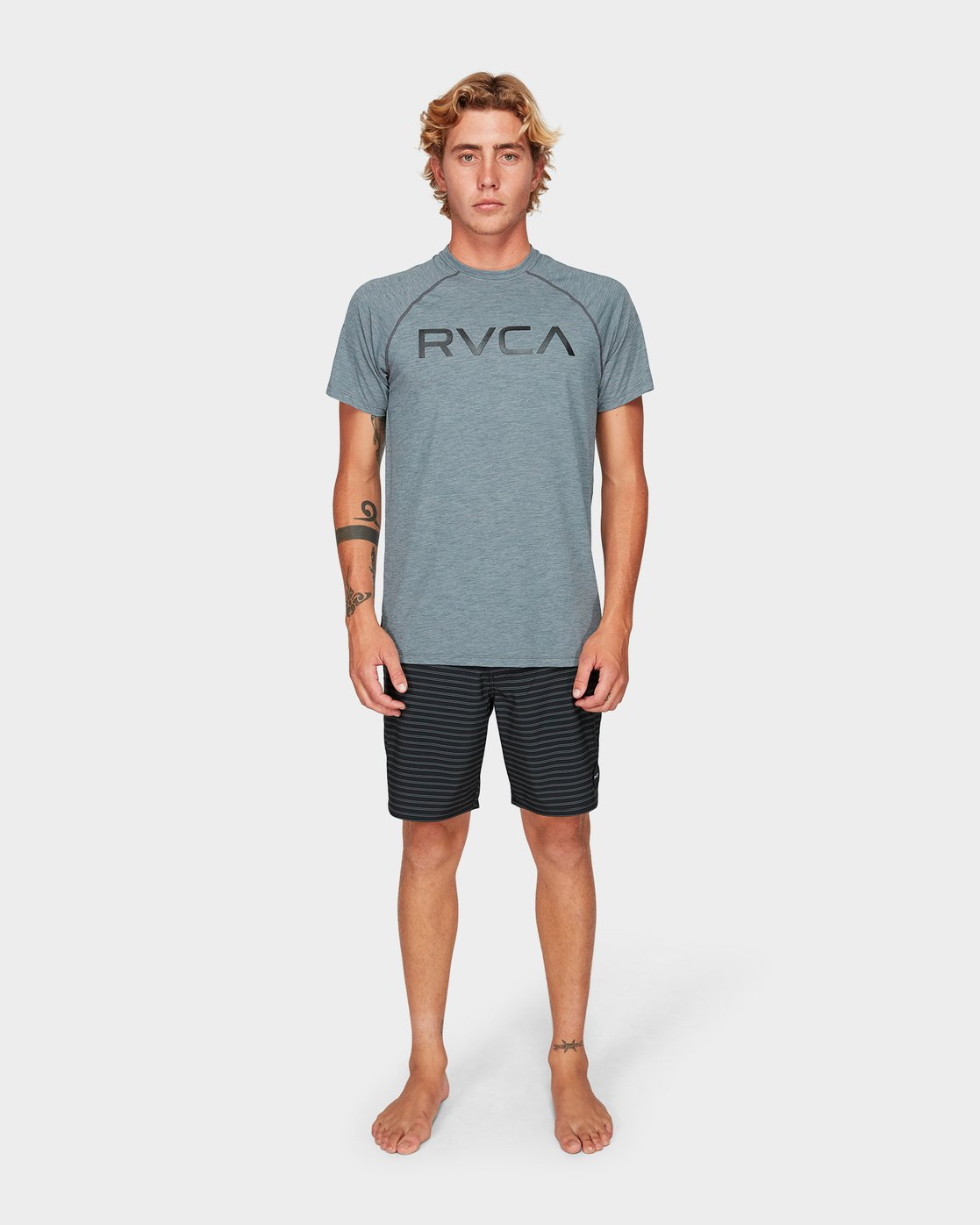 4 Micro Mesh Short Sleeve Tee Grey R382644 RVCA