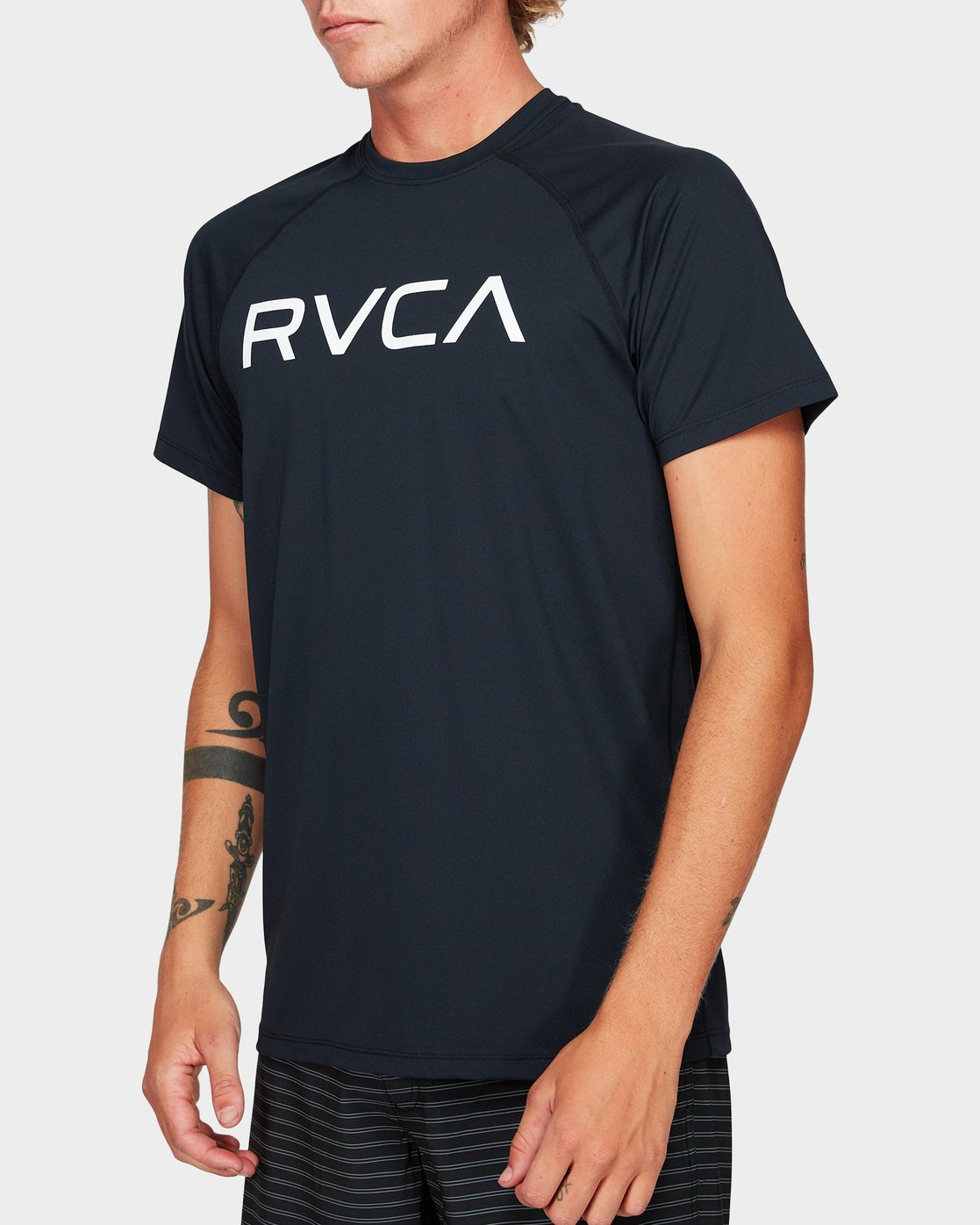 1 Micro Mesh Short Sleeve Tee Black R382644 RVCA