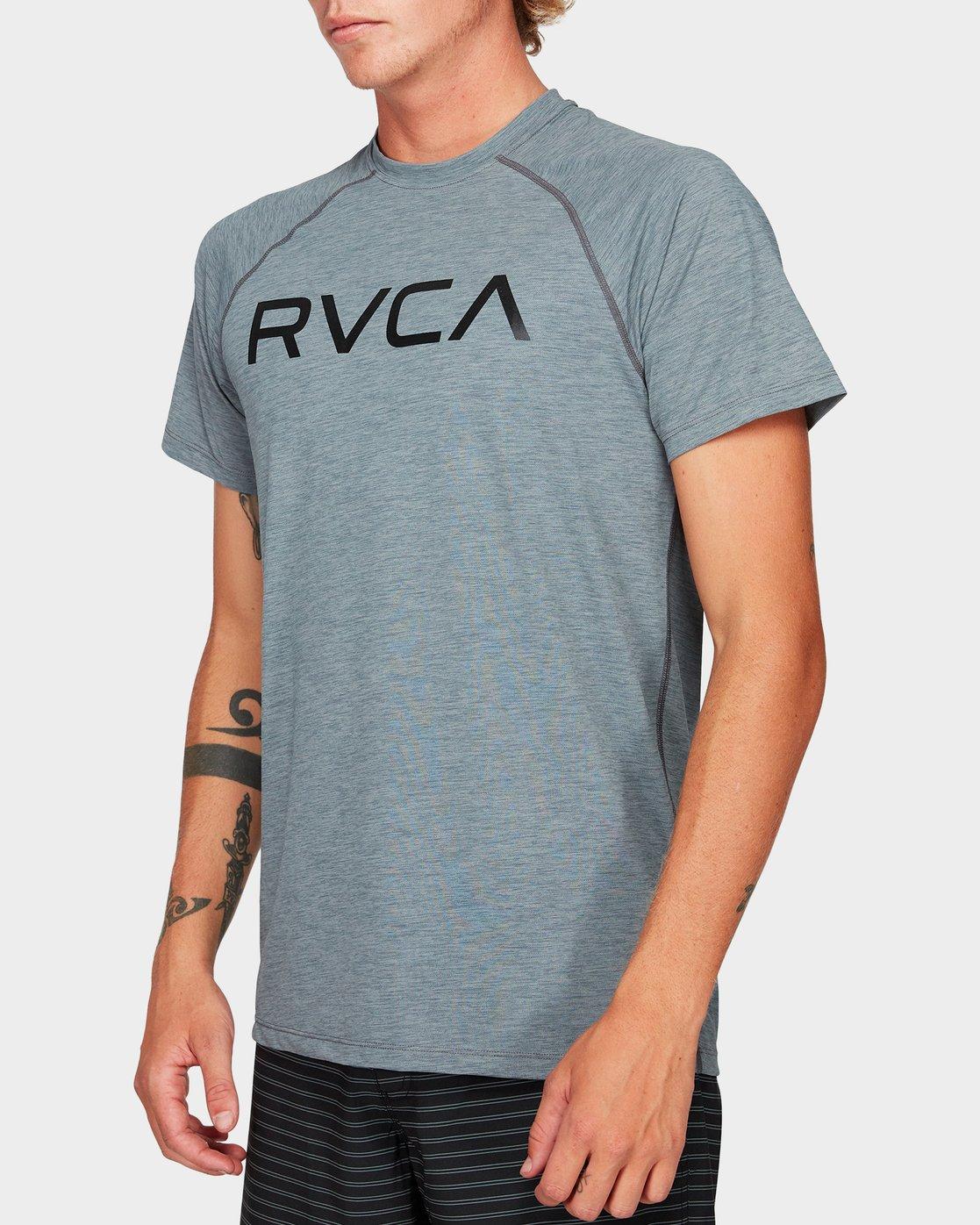 1 Micro Mesh Short Sleeve Tee Grey R382644 RVCA