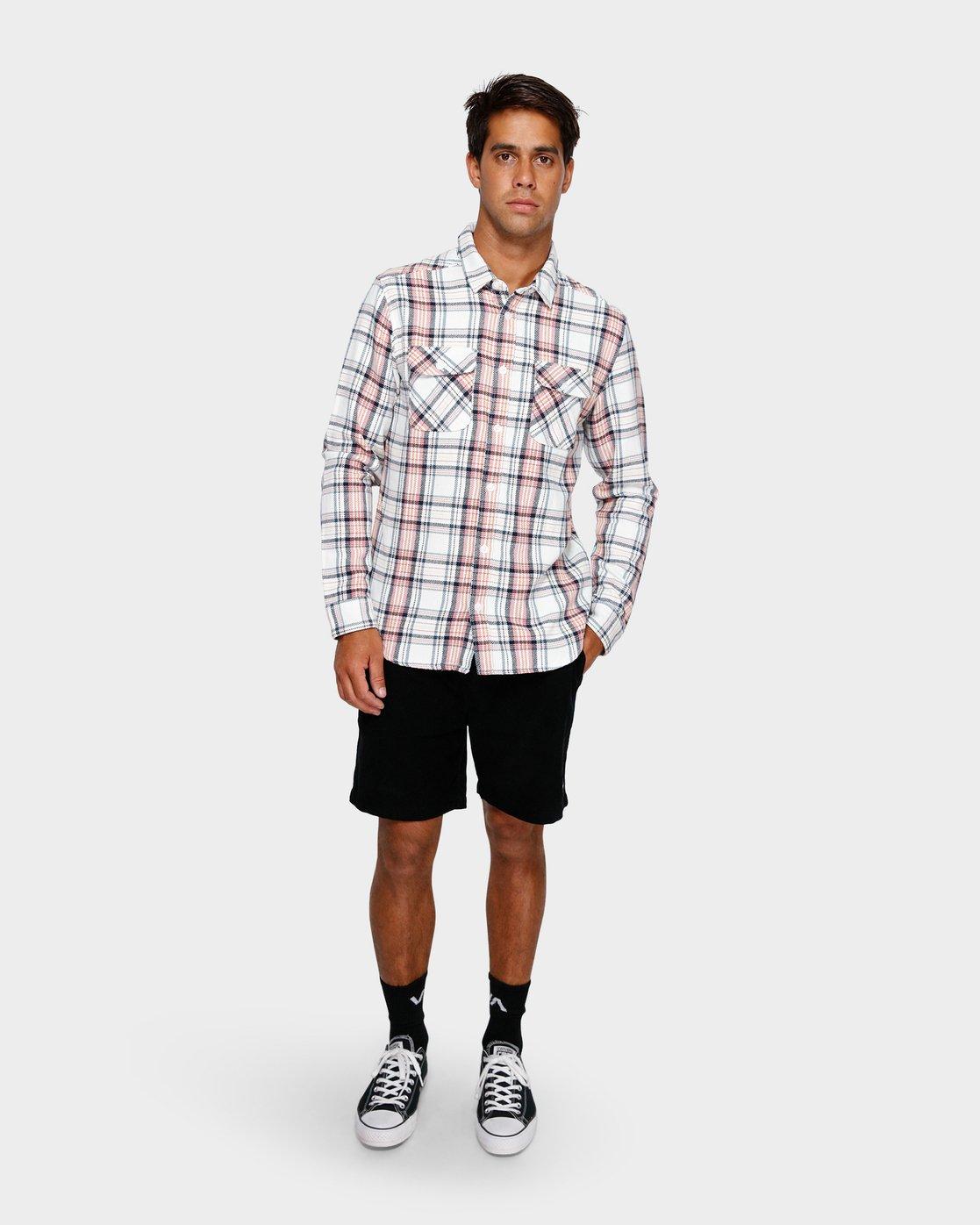 4 Avett Flannel Long Sleeve Shirt White R391182 RVCA