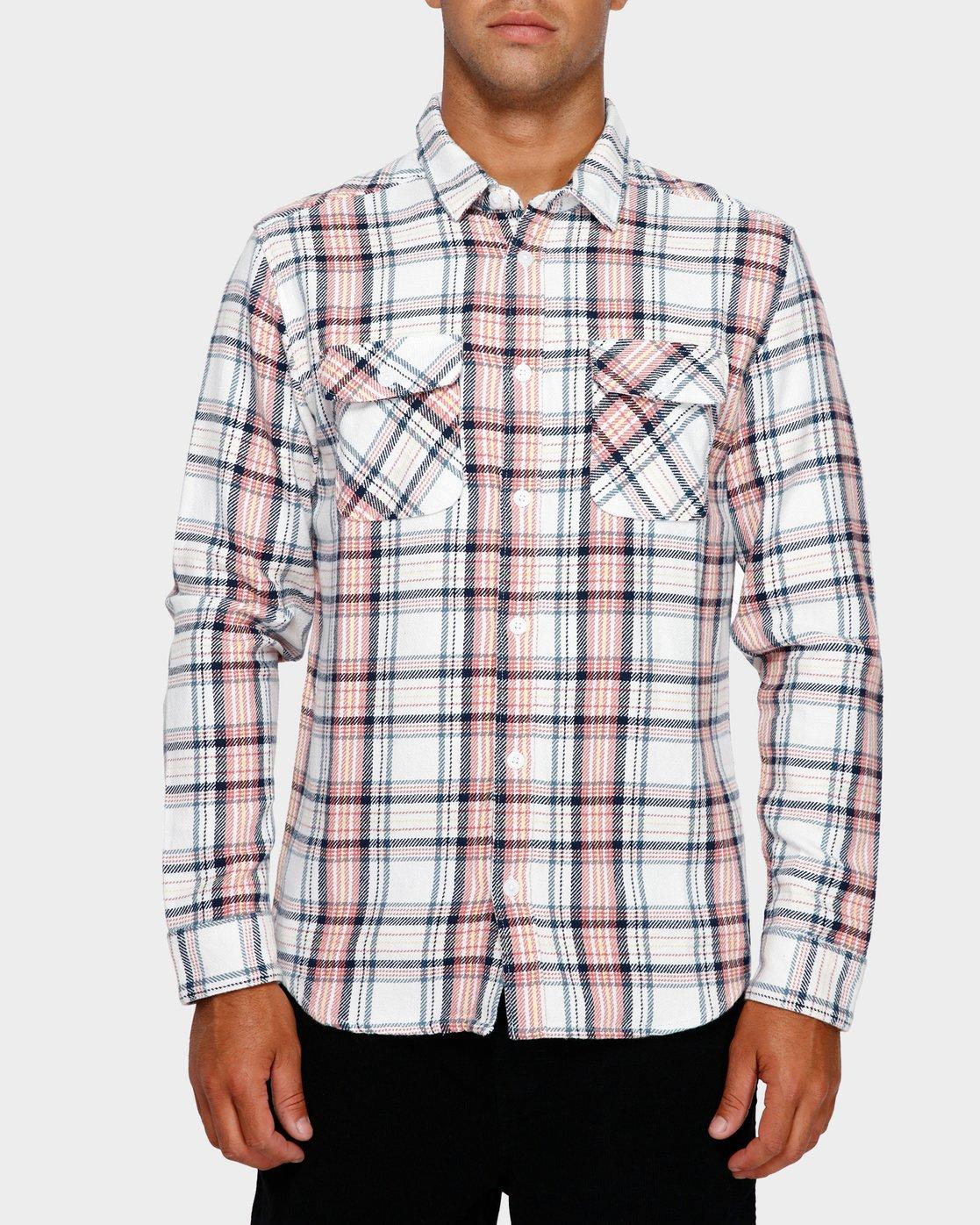 1 Avett Flannel Long Sleeve Shirt White R391182 RVCA