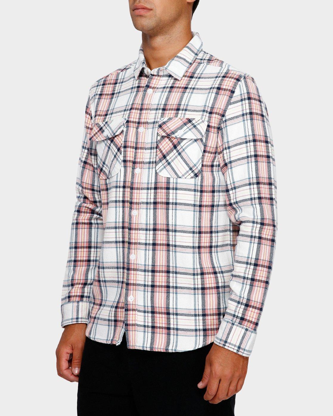 2 Avett Flannel Long Sleeve Shirt White R391182 RVCA