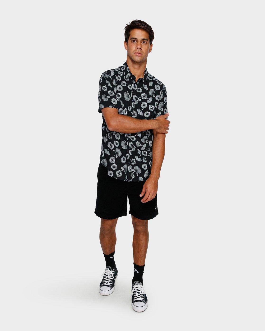 4 Peace Poppy Short Sleeve Shirt Black R391186 RVCA