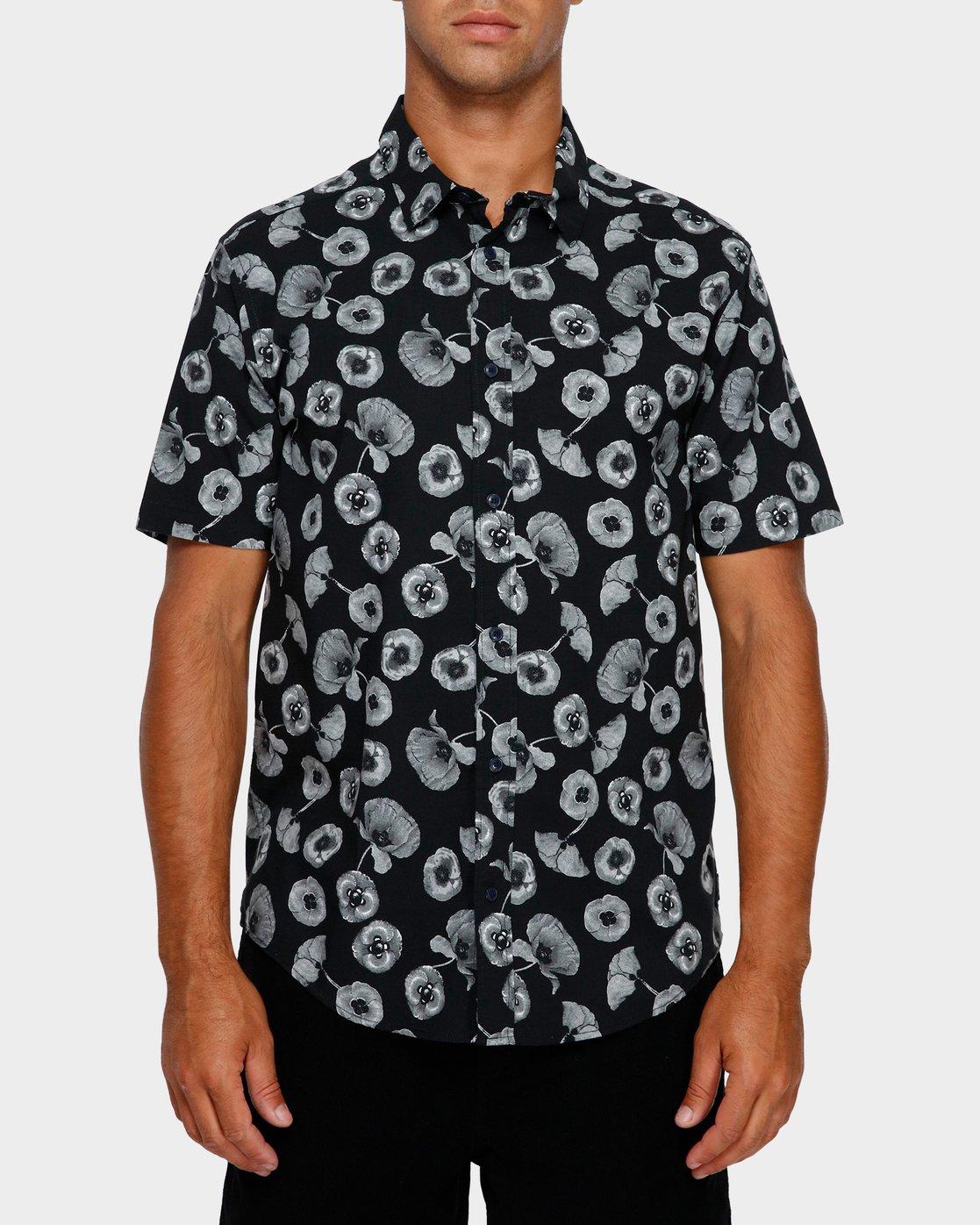 1 Peace Poppy Short Sleeve Shirt Black R391186 RVCA