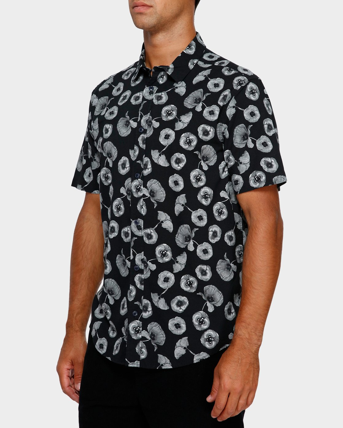 2 Peace Poppy Short Sleeve Shirt Black R391186 RVCA