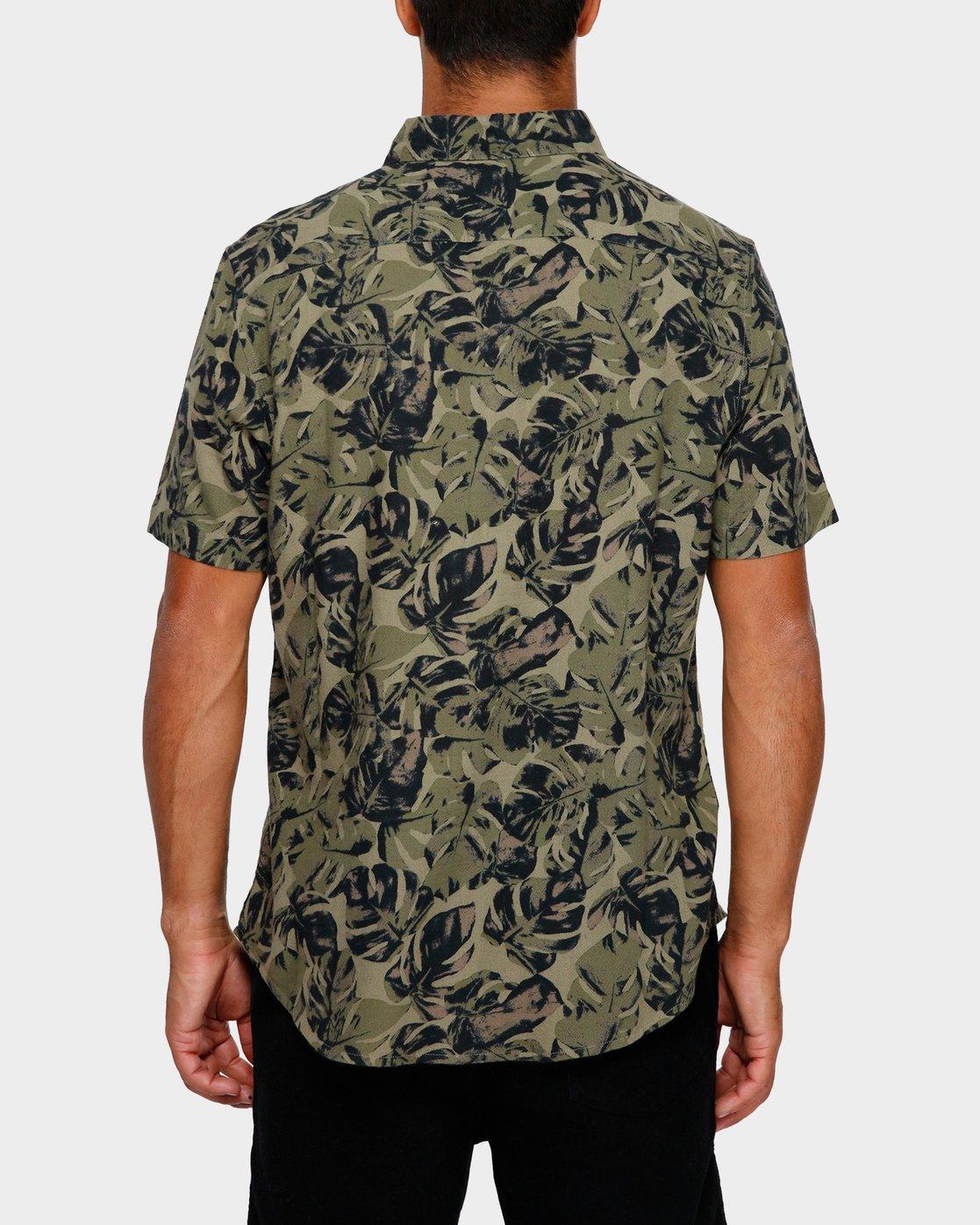 3 Leaf Camo Short Sleeve Shirt Black R391188 RVCA