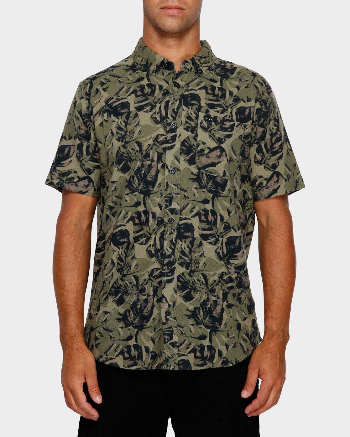 1 Leaf Camo Short Sleeve Shirt Black R391188 RVCA