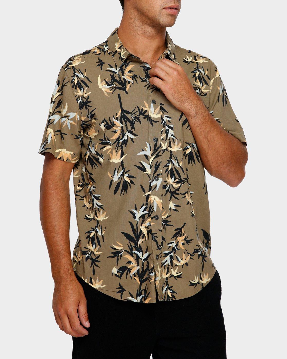 0 Bamboozled Short Sleeve Shirt Green R391190 RVCA