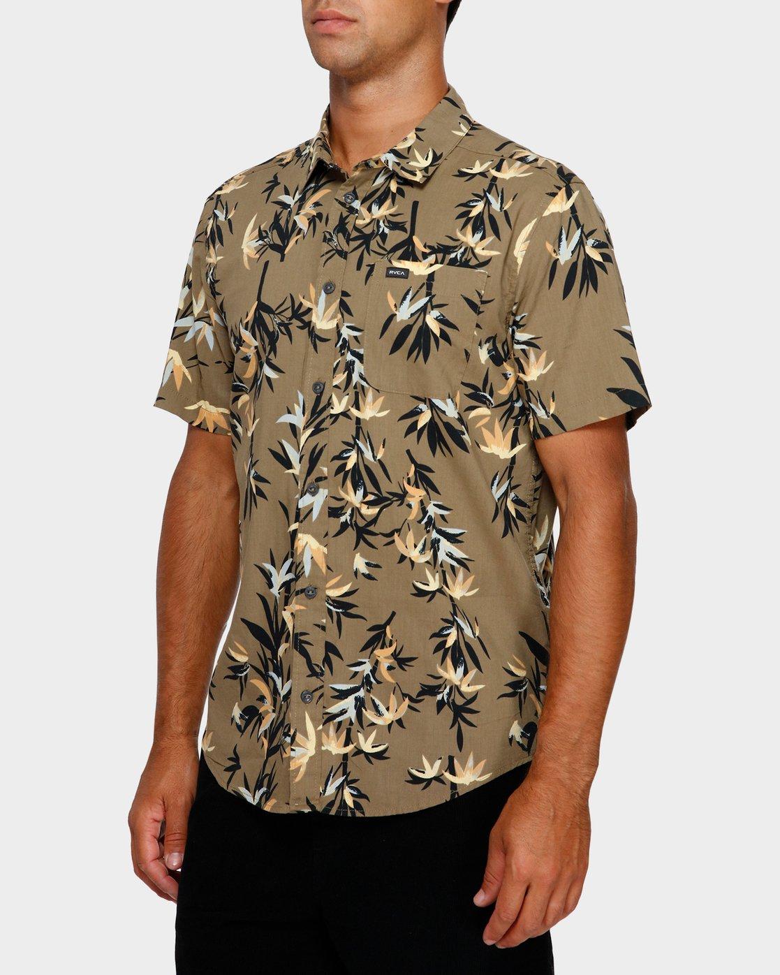 2 Bamboozled Short Sleeve Shirt Green R391190 RVCA