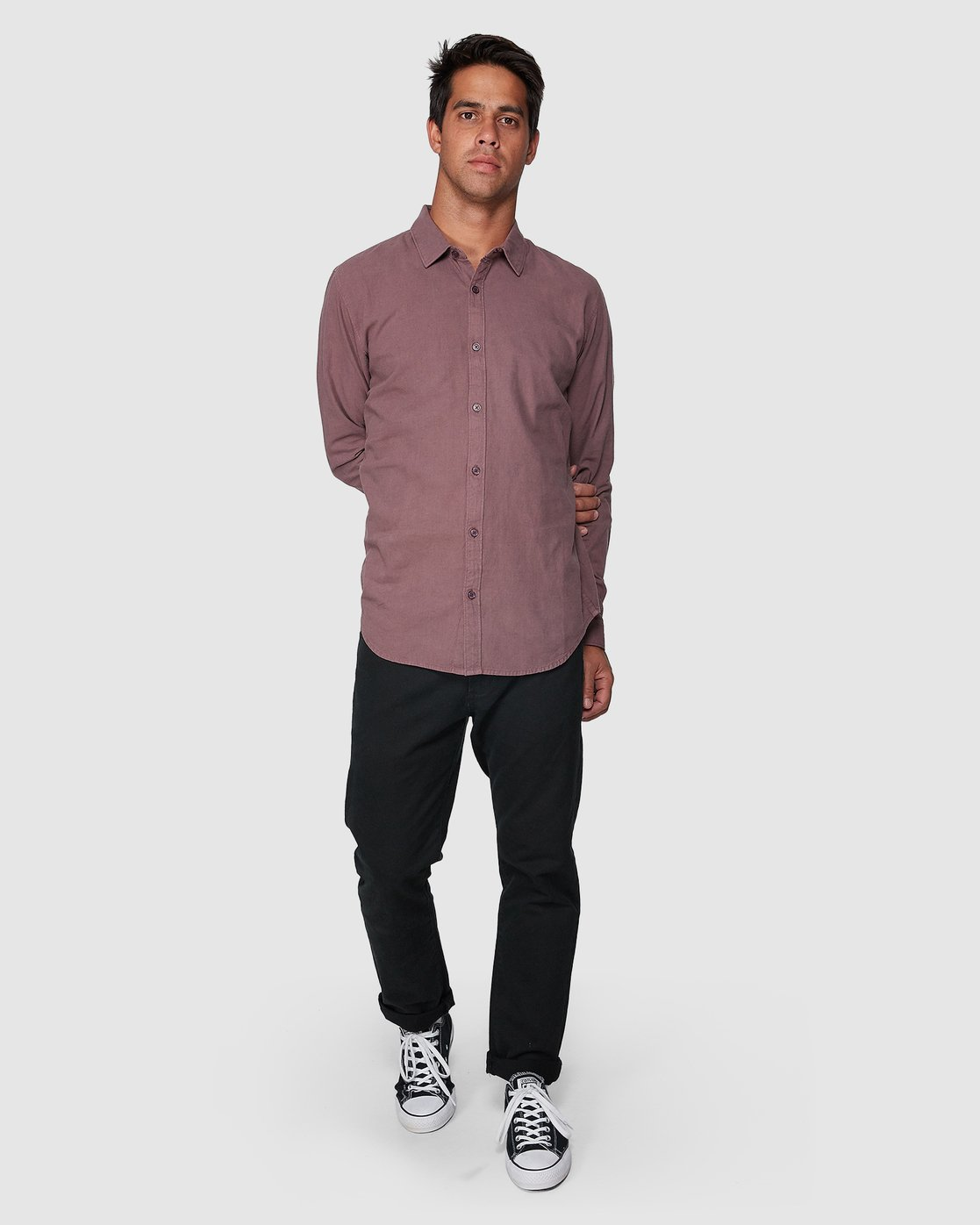 5 Crushed Long Sleeve Shirt Red R391193 RVCA