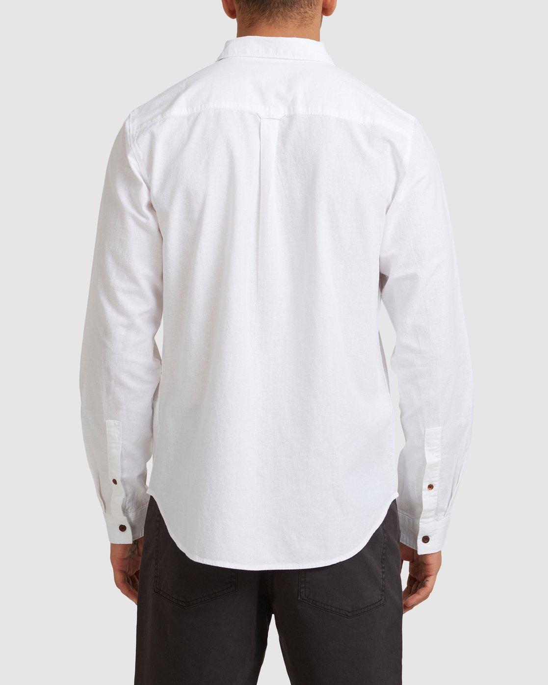 2 Crushed Long Sleeve Shirt White R391193 RVCA