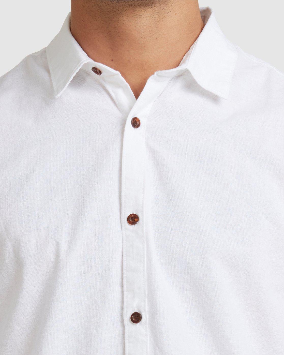 3 Crushed Long Sleeve Shirt White R391193 RVCA