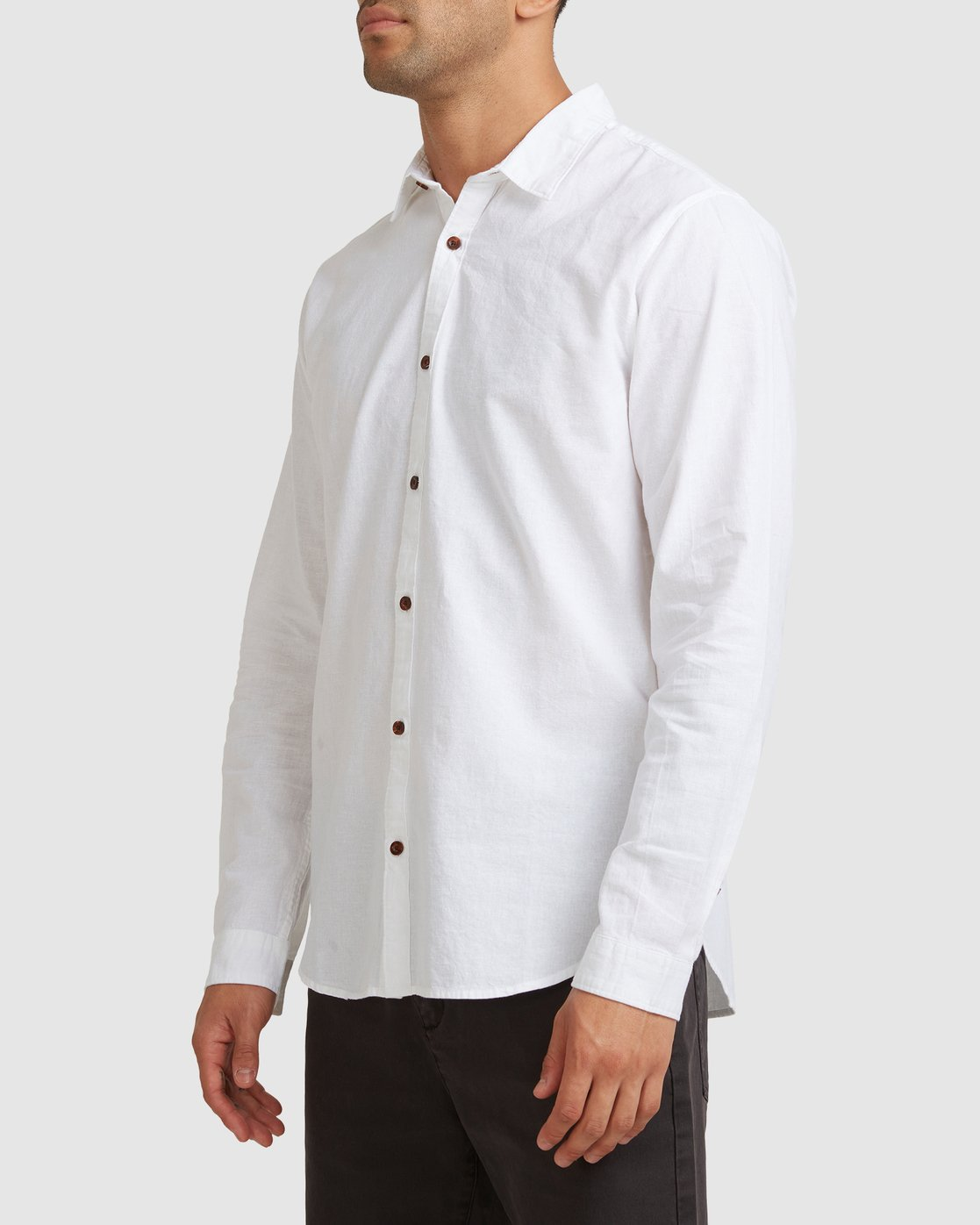 1 Crushed Long Sleeve Shirt White R391193 RVCA